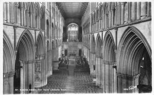 St. Albans Abbey Cathedral Nave Looking East Interior Real Photograph Greetings
