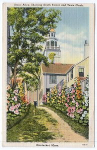 Nantucket, Mass, Stone Alley, Showing South Tower and Town Clock