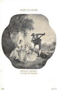Musée Du Louvre Nicolas Lancret La Leçon De Musique Art c1910s Vintage Postcard