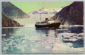 Alaska~Tracy Arm~SS Glacier Queen~SS Yukon Star~Vintage Postcard