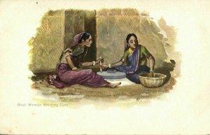 british india, Native Ghati Women grinding Corn (1899) Artist Signed Postcard
