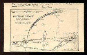 dc1002 - BELGIUM Zeebrugge 1920s Harbour WW1 Map of Enemy Defenses