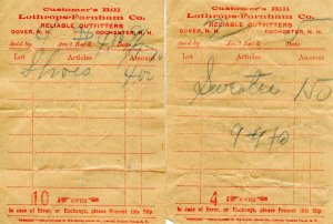 Lothrops-Farnham Co., Dover, NH. 2 Receipts, ca 1898  (5 X 3.625)