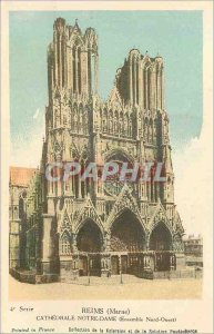 Old Postcard Reims (Marne) cathedrale (all north west)