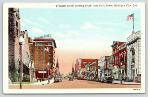 Michigan City Indiana~Franklin Street S @ 6th Street~People's Store~1939 Linen