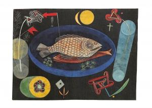 Paul Klee Um den Fisch, Ol auf Leinwand Postcard