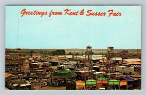 Harrington DE- Delaware, Kent and Sussex Fair,  Aerial View, Chrome Postcard