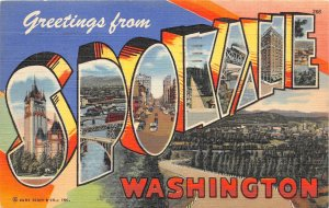 G33/ Spokane Washington Postcard Linen Curt Teich Large Letter Greetings