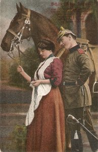 Couple, romance. Horse Old vintaga tnqieue German postcar