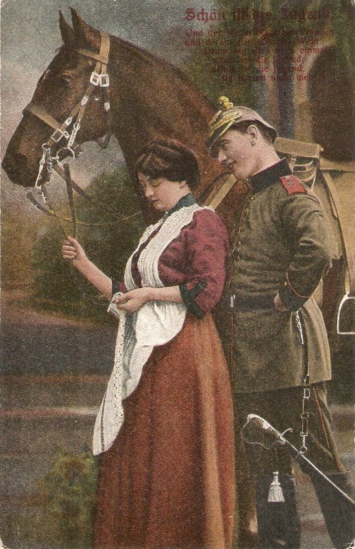 Couple, romance. Horse Old vintaga tnqieue German postcar