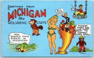 MICHIGAN Comic Postcard The Wolverine State Artist-Signed H. DEAN 1959 Linen