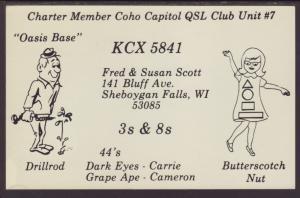 KCX 5841 Sheboygan Falls,WI QSL Postcard