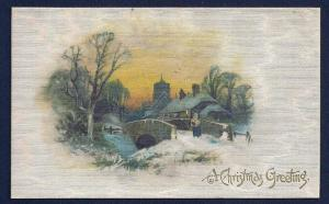 Christmas Greeting Bridge & Scenery Winsch silk used c1910