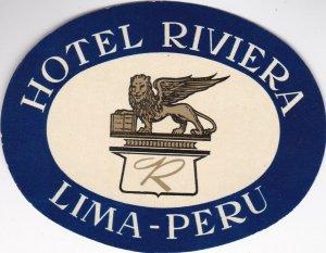 Peru Lima Hotel Riviera Blue Vintage Luggage Label sk1398