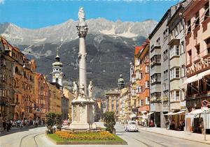 Innsbruck Maria Theresien Strasse mit Nordkette Statue Auto Vintage Car Hotel
