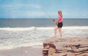 Woman Fishing off Rocks, Southampton, Ontario, Canada, PU-1956