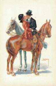 Artist Signed Romantic Couple On Horses Usabo 04.39