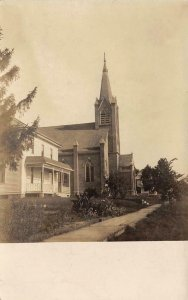 RPPC St. Mary's Church, Bloomington, Wisconsin 1910 Vintage Photo Postcard