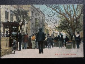 Vintage PC - St. John's Square - Malta - showing animated street market scene