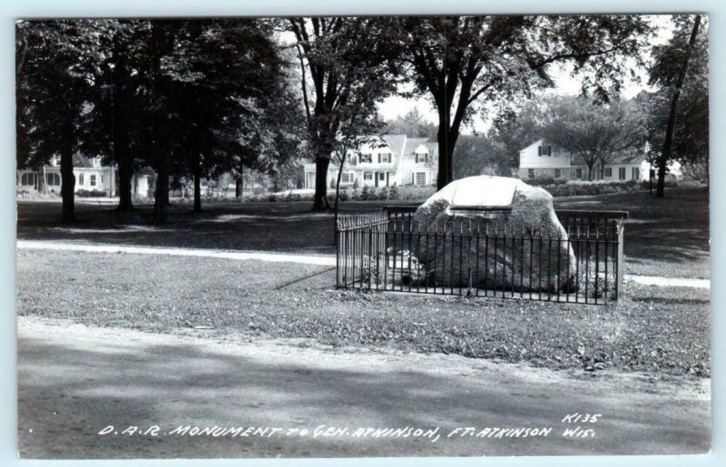 RPPC  FORT ATKINSON, Wisconsin WI ~ D.A.R. MONUMENT c1940s Real Photo  Postcard