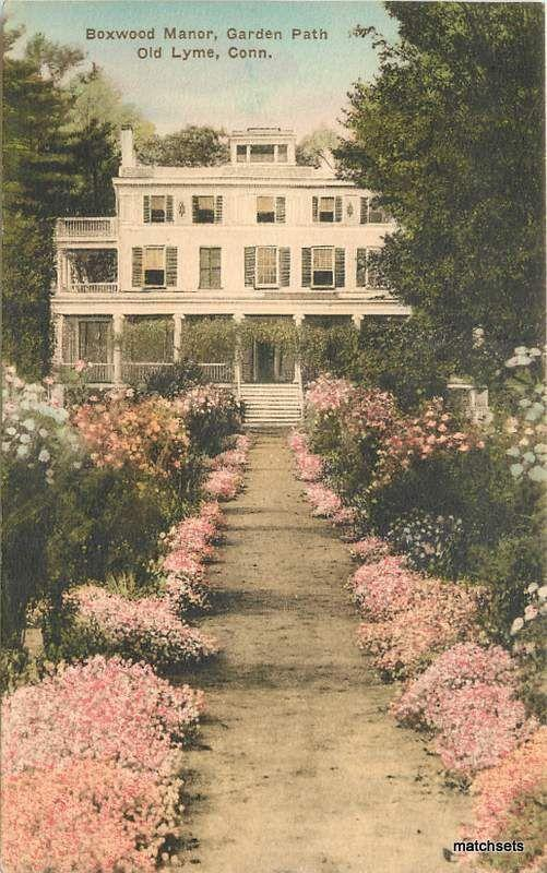 Hand Colored Boxwood Manor Garden Path OLD LYME, CT Albertype postcard 17197