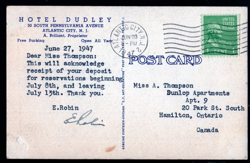 New Jersey ATLANTIC CITY Hotel Dudley 30 South Pennsylvania Avenue pm1947 LINEN