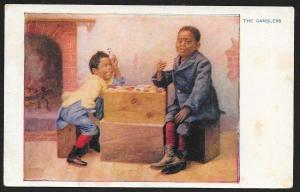 Two Black Boys Playing Cards 'The Gamblers' Unused c1910s