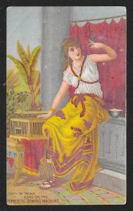 VICTORIAN TRADE CARD Domestic Sewing Co Lady Holding Bird with Red Curtain