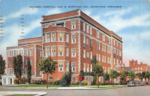 Hospitals Post Card Columbia Hospital Milwaukee, Wisconsin, USA Postcard 1941