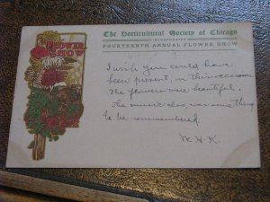US Postcard Used Chicago IL 14th Annual Flower Show Horticultural Society Colise