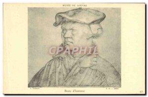 Old Postcard Musee Du Louvre Bust D & # 39Homme Kranach