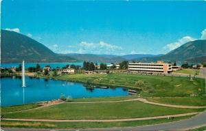 Salmon Arm British Columbia~Hospital & Lake~Fountain~1950s Postcard