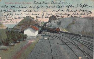 KHANDALLA, India, PU-1907; Reversing Railroad Station, Train on tracks
