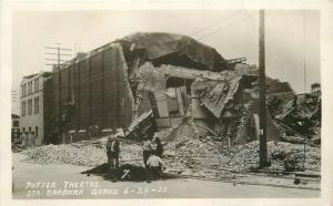 Earthquake Potter Theater 1925 Santa Barbara California RPPC Postcard 12972