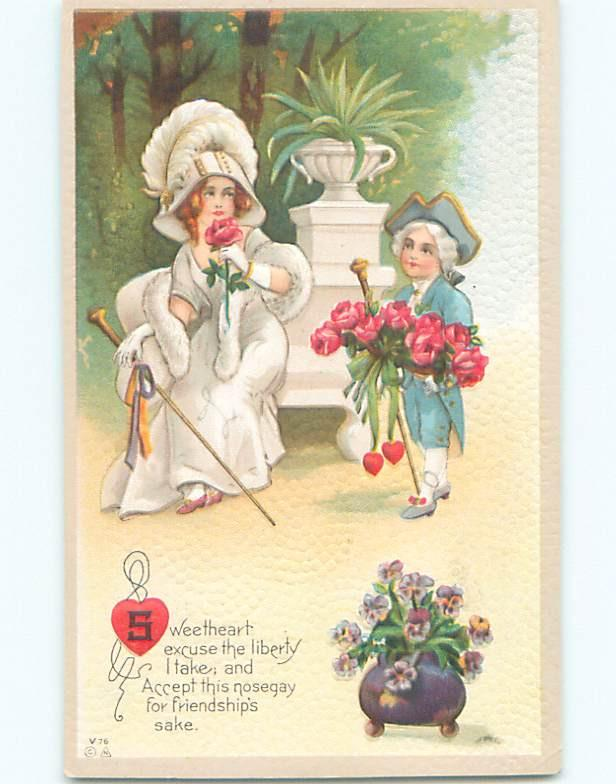 Unused Pre-Linen valentine GIRL GETS FLOWERS FROM MAN IN COLONIAL CLOTHES k5477