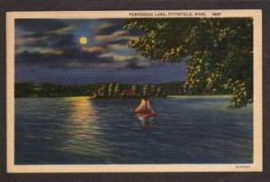MA Pontoosuc Lake PITTSFIELD MASS PC Postcard Moonlight