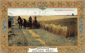 br105755 harevsting in saskatchewan canada golden west