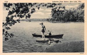 Lakeside View Resort, Rice Lake, Wisconsin, Early Postcard, Unused
