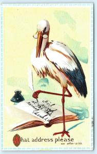 Postcard Stork Birth Announcement Unnamed Girl Born March 1 1911 L17
