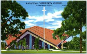 1950s St Petersburg, Florida Postcard Pasadena Community Church Linen Unused