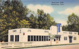 B94/ Gatlinburg Tennessee Tn Postcard Linen Riverview Cafe Ice Cream Shop