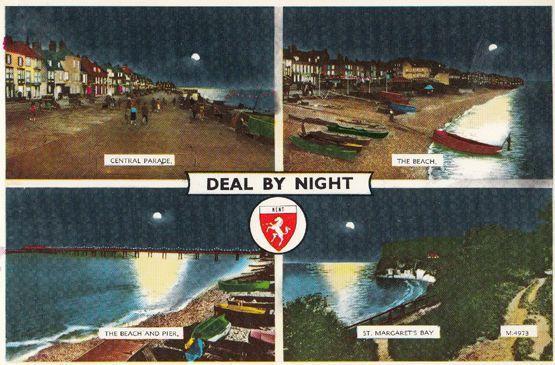 Kent Deal By Night Illuminations 1980s Postcard