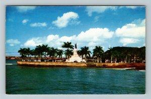 Panama- Caribbean, Statue of Vasco Nunez de Balboa, Chrome Postcard