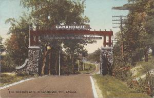 Western Gate to Gananoque, Ontario, Canada, Early Postcard, Used in 1939