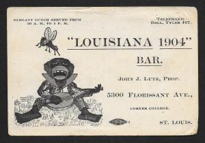 VICTORIAN TRADE CARD Louisiana 1904 Bar Black Man, Bango & Bee