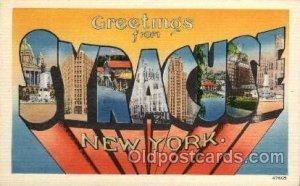 Syracuse, New York Large Letter Town Unused