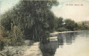 Berlin Wisconsin~Fox River~Rowboat Under Weeping Willow~Riverbank~1912 Postcard