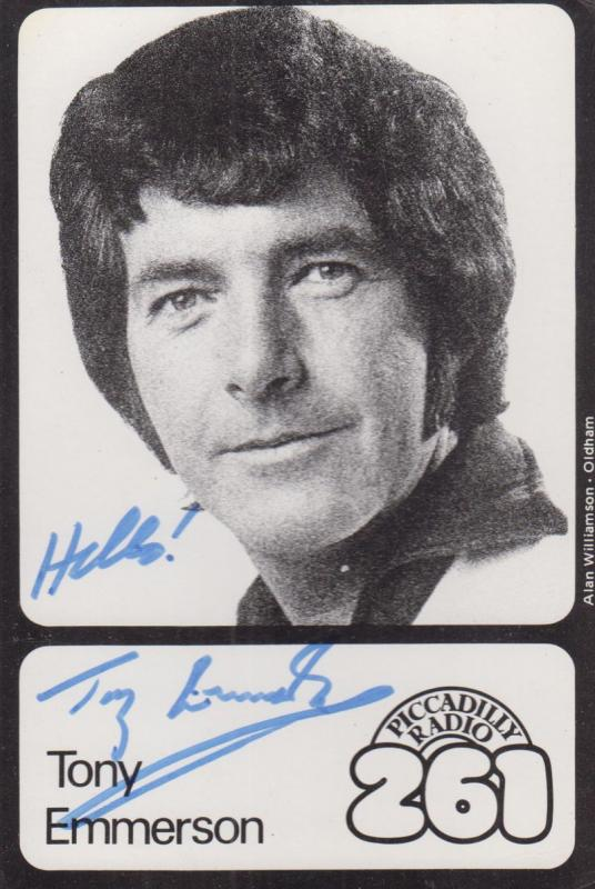 Tony Emmerson Picadilly Manchester Radio Vintage Hand Signed Cast Card Photo
