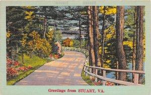 F74/ Stuart Virginia Postcard Linen 1951 Greetings from Stuart