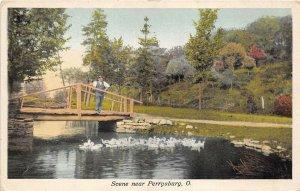 Perrysburg Ohio c1920 Postcard Scene Bridge Wood County